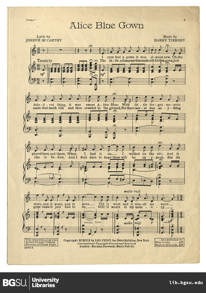 Irene. Alice blue gown. Vocal score · Sheet Music Collection ...